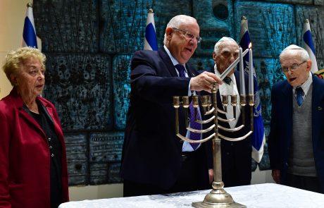 נר שני חנוכה 2018 בבית הנשיא עם ניצולי השואה